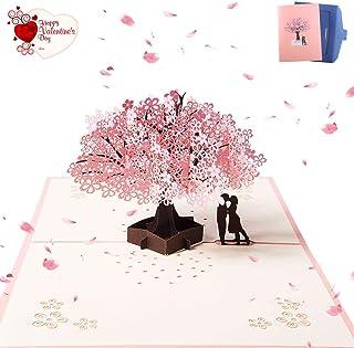 ZARRS Tarjeta para Boda,3D Tarjetas de Felicitación Pop-up Tarjeta Amor para Bodas San Valentín Cumpleaños Aniversario Compromiso Navidad Romántica Sakura 20 * 15cm
