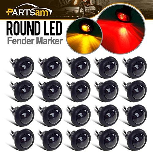 Partsam 20x Amber/Red Truck Trailer Boat 3/4' Round Led Light Round Marker Grommet Smoke Lens