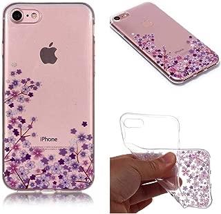 iPhone 7 / iPhone 8 薄型 防塵 ケース カバー Zeebox TPU 衝撃吸収 可愛い カバー iPhone 7 / iPhone 8 軽量 耐久 落下防止 保護 透明 柔軟カバー 脱着簡単 液晶保護 耐摩擦 カバー,紫の花
