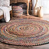 Aakriti Indian Boho Rag Rug Cotton Handmade Patch Rug Jute for The Living Room, Dining Room, Bedroom (Multicolor Round, 60 cm)
