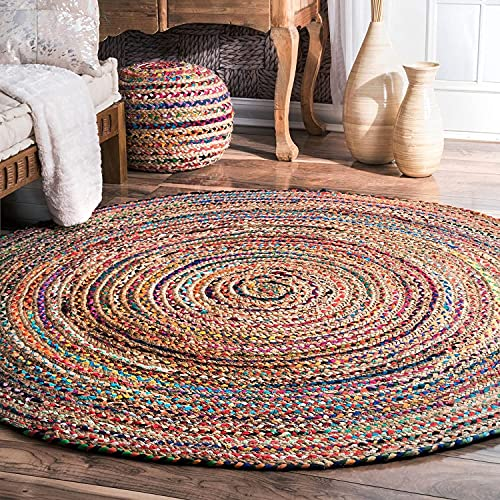 Aakriti Indian Boho Rag Rug Cotton Handmade Patch Rug Jute for The Living Room, Dining Room, Bedroom (Multicolor Round, 150 cm)