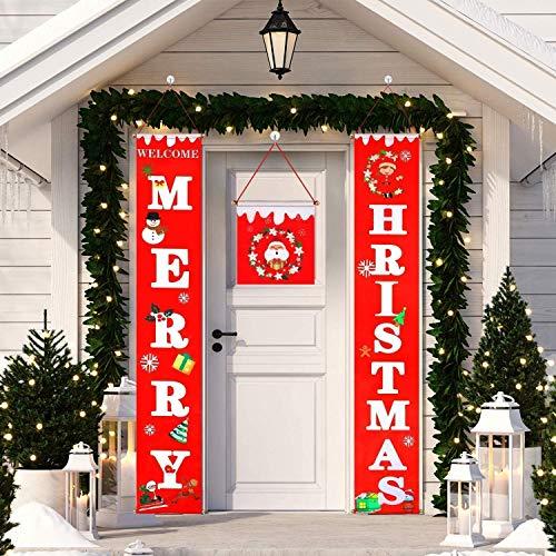Banners De Decoraciones Navideñas Banners De Letreros De Porche De Feliz Navidad Decoraciones Colgantes Suministros De Navidad Para La Puerta De La Pared Del Hogar Fiesta En El Apartamento,Rojo