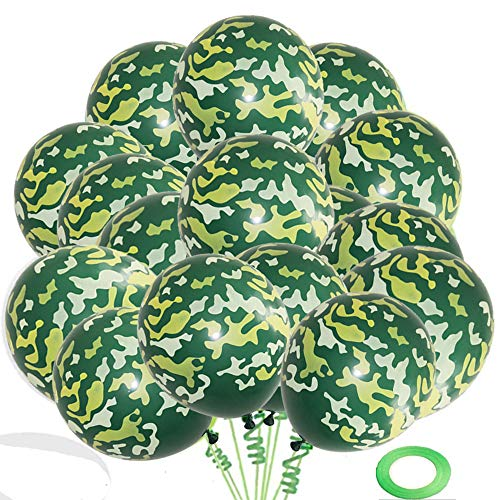 """Finypa 70 Pieces Latex Camo Balloons Camouflage Balloons Military Balloons for Hunting Themed Party Military Celebrations - Large 12""""Latex Balloons"""