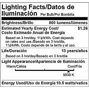 AmazonBasics 60 Watt Equivalent, Daylight, Non-Dimmable, A19 LED Light Bulb | 6-Pack