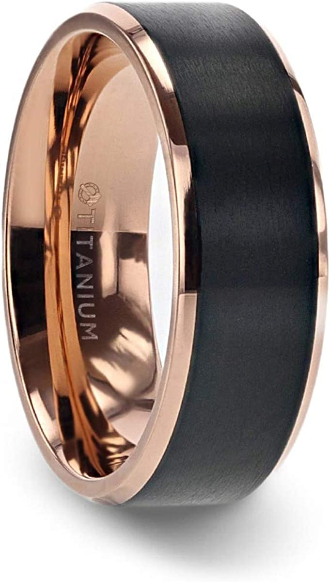 Thorsten Stephen Rose Gold Plated Black Titanium Flat Brushed Center Men's Wedding Ring with Beveled Polished Edges - 8mm