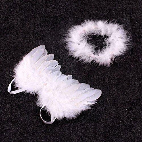 Plumas Alas Aureola de Angel de Cupido Props Libre para Bebé 0-6 Meses