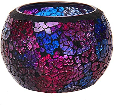 shiyacraft Mosaic Glass Candle Holder, Christmas Candles Gift, Round, Purple