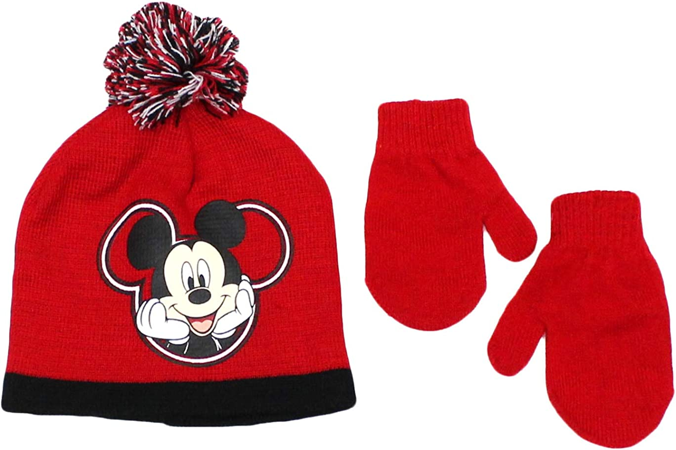 Elegant Headwear Toddler Boy Beanie Hat With Mittens Winter Accessory Set, Mickey Mouse Red, 8