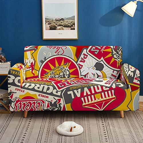 HXTSWGS Fundas Cojines de Sofa,Scenery 3D Sofa Cover, Elastic Stretch Sofa Cover, 1/2/3/4 Seater Sof Slipcover Couch Covers for Livingroom-BDB71_4-Seater 235-300cm