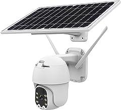 Câmera Wifi PTZ 1080P externa, Câmera de segurança IP PTZ com bateria alimentada por energia solar com visão noturna em co...