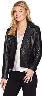 DOLLY LAMB Women's Lambskin Leather Moto Biker Jacket - Winter Wear - Deep Neck
