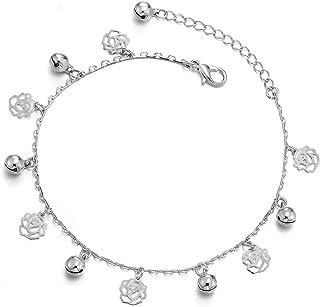 Perle R/églable COOLSTEELANDBEYOND Deux Rangs Femme Balle Cha/îne Bracelets de Cheville avec Ouvert Coeur Charms Grelot