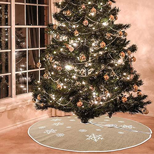 Sunshine smile Christmas Tree Skirt,Falda del árbol de Navidad,decoración de la Fiesta de Navidad,Blanco Falda del árbol de Navidad (A)
