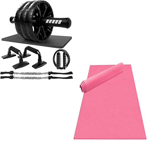 popular Odoland Large online Yoga Mat 72'' x 48'' (6'x4') x6mm for Pilates Stretching Home Gym Workout, Extra Thick Non Slip Eco Friendly Exercise Mat,Pink 5-in-1 Ab Roller online sale Wheel Set online sale