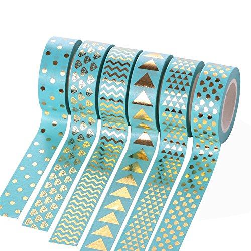 Fablcrew Lot de 6 Pièces Ruban de Masquage Ruban Adhésif Papier Ruban Décoratif Beau et Brillant Scrapbooking Décoration 15 mm * 10 m