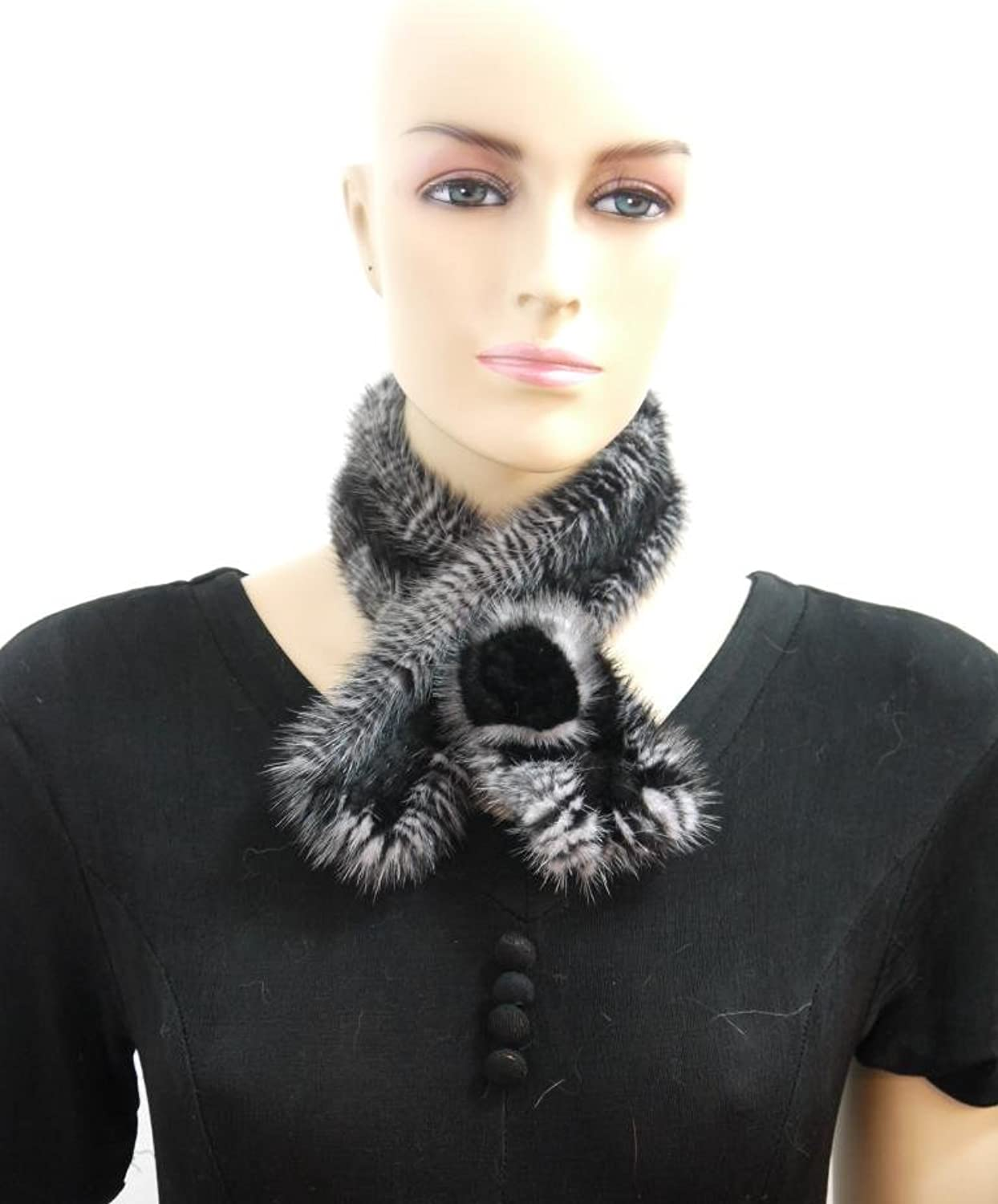 24  100% Mink Go through Scarf with ResetteBlack and White