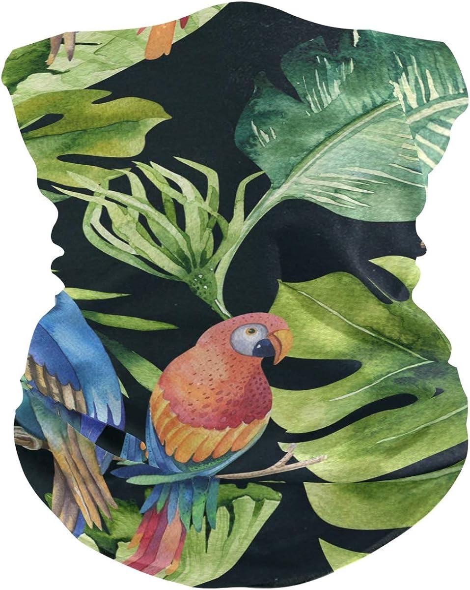 ALAZA Parrot Tropical Leaves Headwear Magic Scarf Headband Bandana Neck Gaiters Outdoor Sports for Women Man
