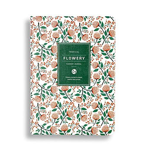 Cuaderno de notas de tapa dura A5/A6, cuaderno de notas con diseño floral, cuaderno de ejercicios, planificador semanal/mensual para escuela, oficina, hogar, en blanco, línea/rejilla
