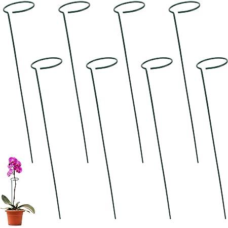 Jubaopen 8 PCS Estaca de Soporte de Planta,Estaca de Apoyo Metal Apoyo a La Estacas de Flores Estaca de Soporte de Una Sola Flor para Plantas Flores Tomates Girasol(40CM)