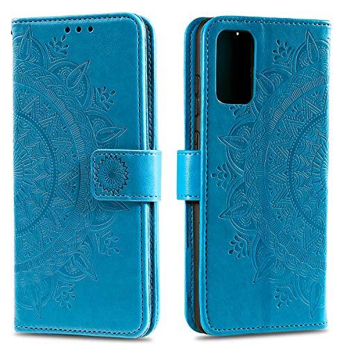 HTDELEC für Samsung Galaxy A52 Hülle,Ultra Slim Flip Hülle Blau Etui mit Kartensteckplatz & Magnetverschluss Leder Wallet Klapphülle Book Hülle Bumper Tasche für Samsung Galaxy A52 (T-Blau)