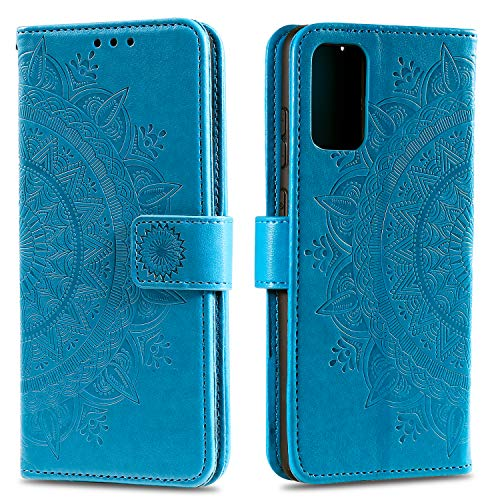 HTDELEC Samsung Galaxy A41 Hülle,Ultra Slim Flip Hülle Blau Etui mit Kartensteckplatz & Magnetverschluss Leder Wallet Klapphülle Book Hülle Bumper Tasche für Samsung Galaxy A41(T-Blau)