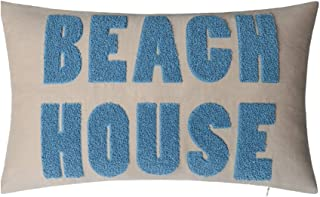JWH Terry Embroidery Accent Pillow Case Decorative Linen Cotton Cushion Cover Beach House Letter Design Pillowcase Home Bed Living Room Shell Gift Sham 12 x 20 Inch Blue