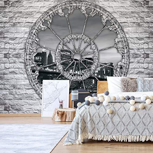 Wallsticker Warehouse New York Brooklyn Brücke Zier-Fenster-Ansicht Fototapete Fotomural - Wandbild - Tapete - 368cm x 254cm / 4 Teilig - Gedrückt auf 115gsm Muralpapier - 2106P8 - New York