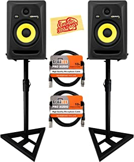 KRK Rokit 6 G3 Studio Monitor Speaker Bundle with Two Monitors, Stands, XLR Cables, and Austin Bazaar Polishing Cloth