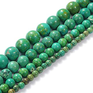 Natural Stone Beads 8mm Green Turquoise Gemstone Round Loose Beads Crystal Energy Stone Healing Power for Jewelry Making DIY,1 Strand 15