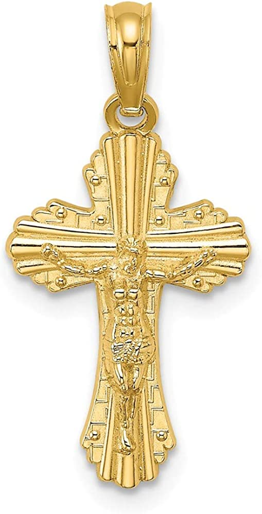 14k Yellow Gold Max 73% wholesale OFF 3 D God Reversible Small Crucifix Cross Loves Me
