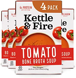 Sponsored Ad - Tomato Soup with Chicken Bone Broth by Kettle and Fire, Pack of 4, Paleo, Gluten Free Collagen Soup on the ...
