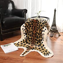 Leopard Print Rug, 2.7 W x 3.5 L Feet Faux Cowhide Skin Rug Animal Printed Area Rug Carpet for Home Office, Livingroom, Bedroom