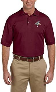 Order of The Eastern Star Embroidered Masonic Men`s Polo Shirt