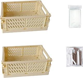 Lot de 2 boîtes de rangement en plastique avec clips alimentaires et sacs de rangement sous vide 24,8 x 16,5 x 9,7 cm pani...