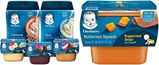 Sponsored Ad - Gerber Purees 1st Foods & Single Grain Cereal Assorted Variety Pack, 11 Count & 1st Foods, Butternut Squash...