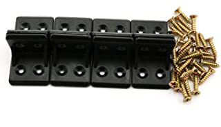 8pcs 4-Hole L Shape Plastic Corner Bracket Right Angle Furniture Corner Brace Joint with Countersunk Mounting Screws Hardware Fitting Accessories for Shelf Support 2.8x2.8cm Black