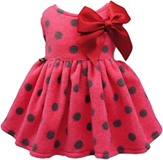 Fitwarm Christmas Polka Dot Dog Dress Pet Coats Outfits Cat Apparel Fleece Red