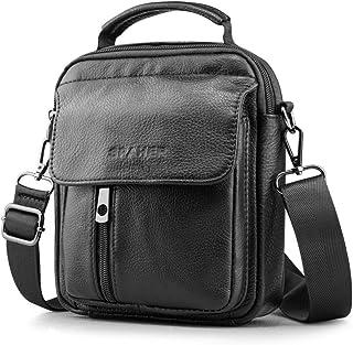 Spaher leather men's sling bag, men's shoulder bag, small handbag, leather shoulder bag, wrist bag with card holders and removable shoulder strap.
