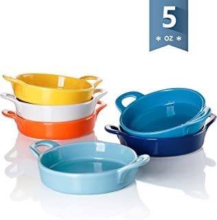Sweese 507.002 Porcelain Ramekins, 5 Ounce Ramekins for Baking, Round Creme Brulee Dish with Double Handle - Set of 6, Hot Assorted Color