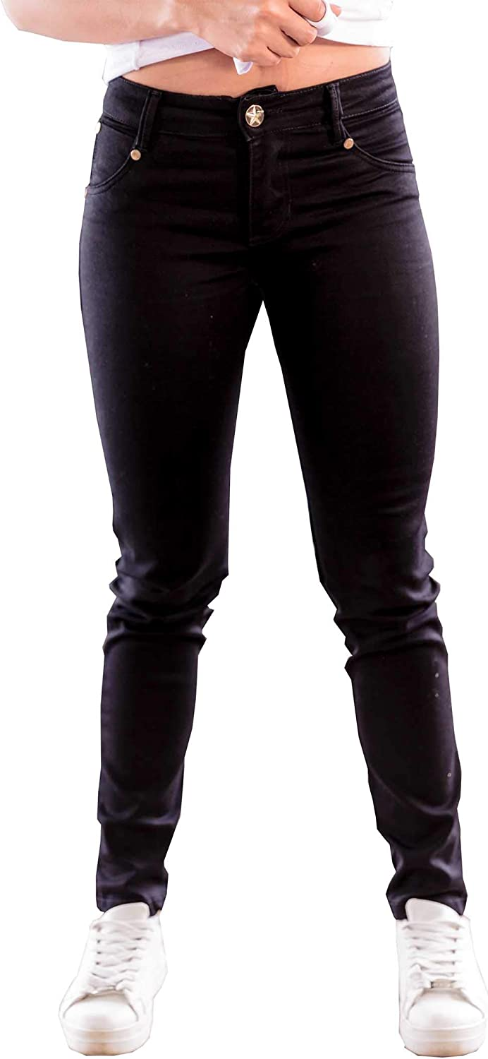 BOCARED Women's Straight Jeans with Strech [Black] 95% Cotton 5% Spandex  Denim