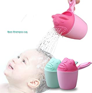 green Kids Baby Shampoo Cup Cartoon Bear Shape Baby Bath Shower Caps Cup Spoons Bath Toys Washing Head Hair Wash Tearless Tub Bath Products Care For Children Birthday Gift 9.5 10.7cm