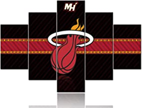 Extra Large Sports Painting The Miami Heat Logo Paintings Black and White Red Pictures 5 Panel Canvas NBA Artwork Home Decor for Living Room Giclee Framed Ready to Hang Posters and Prints -60''Wx40''H
