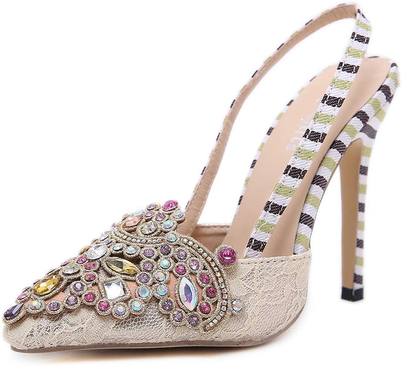 Ladies Stiletto High Heel, Womens Lace-Up Diamonds Wedding Party Kitten Heel Strappy Sandals Prom Glitter Stiletto Sandals,36