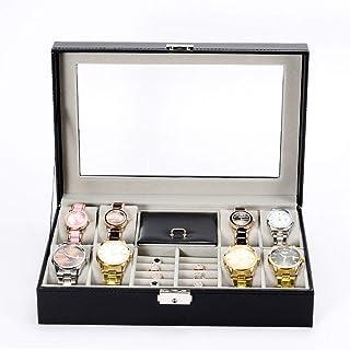 Lwieui Caja de Reloj Caja de Almacenamiento de Relojes Cuero de la PU con la Tapa de Cristal con Cerradura for Hombres y M...