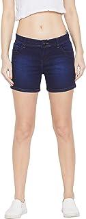 Jump USA Women Blue Washed Slim Fit Denim Shorts