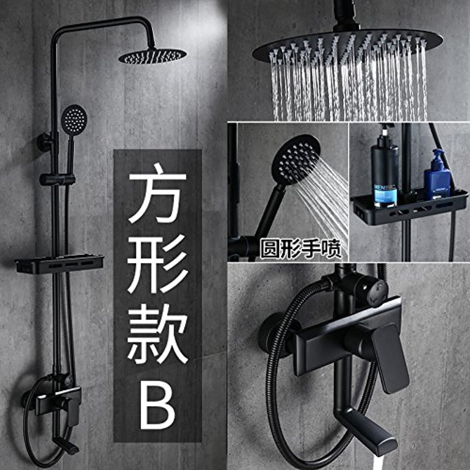 Gyps Faucet Basin Mixer Tap Waterfall Faucet Antique Bathroom Mixer Bar Mixer Shower Set Tap antique bathroom faucet Black matte booster shower kit antique showers full brass faucets can lift square B