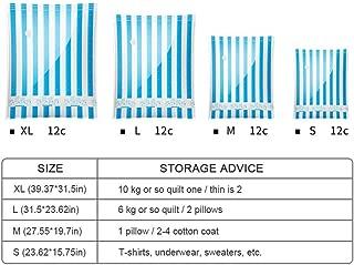 Vacuum Storage Bags, Hamkaw Travel Vacuum Sealer Bags BPA Free - Reusable Space Saver Bags for Clothes & Foods (Small B)