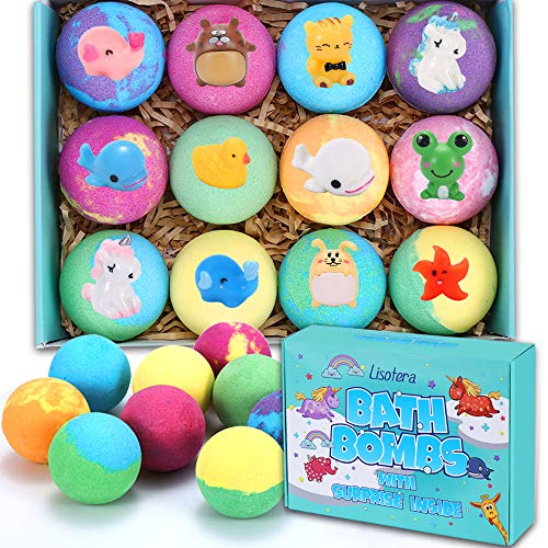 Bath Bombs for Kids with Toys Inside - 12 Gift Set for Girls Boys, Kids Safe Bubble Bath Fizzies Vegan Essential Oil Spa Fizz Balls Kit