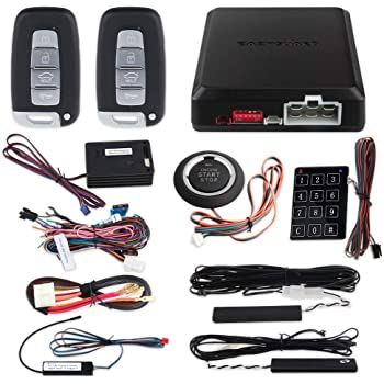 EASYGUARD EC002-K-NS Intelligent car Alarm kit with Passive keyless Entry Automatically Lock Unlock car Door Remote Start Push Start and Touch Password Entry Shock Sensor