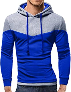 ZEFOTIM Men's Autumn Winter Patchwork Long Sleeve Hooded Sweatshirt Outwear Top Blouse